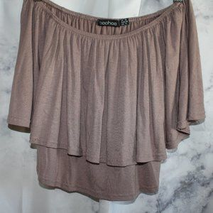 Boohoo Brown Off the Shoulder Top